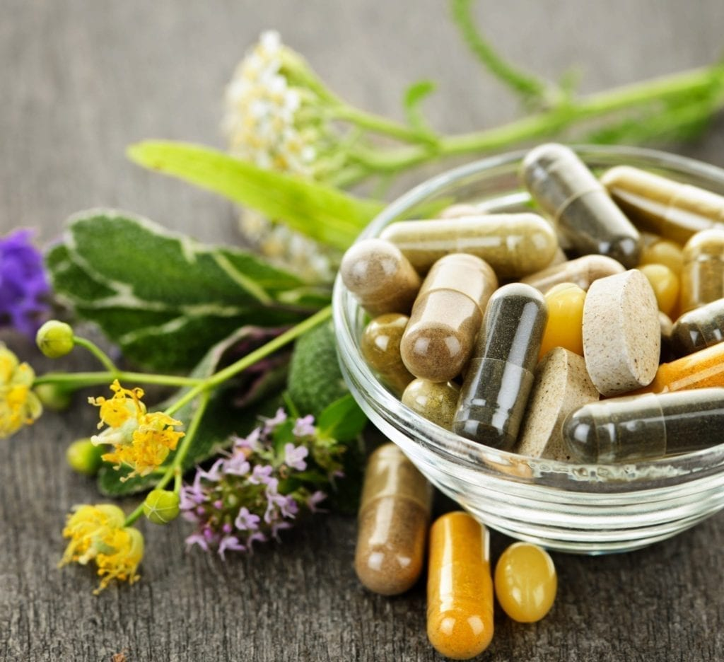 nutraceutical herbal supplements in a bowl